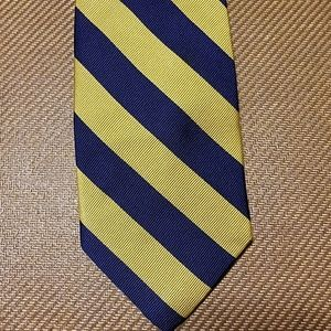 Jos A Bank Tie Yellow Navy Blue Striped